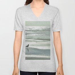 BIRDIE WALKING ON THE BEACH AT SUNSET Unisex V-Neck