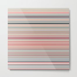 Pink Peach Pastel Stripe Design Metal Print
