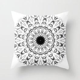Black and White Brush Lace Mandala Throw Pillow