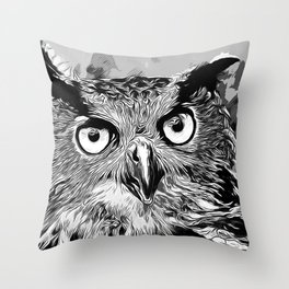 owl strix bird v2 vector art black white Throw Pillow