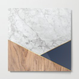 Geometric White Marble - Wood & Navy #599 Metal Print