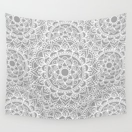 Grey Mandala Pattern Wall Tapestry