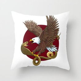 Eagle and Snake Throw Pillow