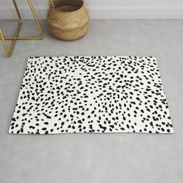 Nadia - Black and White, Animal Print, Dalmatian Spot, Spots, Dots, BW Rug