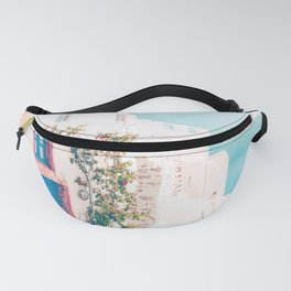 Santorini Greece Cozy blush travel photography in hd. Fanny Pack