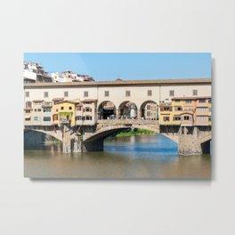 Closeup of Ponte Vecchio old bridge over river Arno - Florence Metal Print