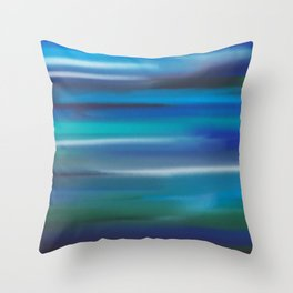 Aegean Blue Abstract Throw Pillow