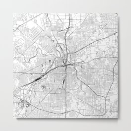Fort Worth White Map Metal Print