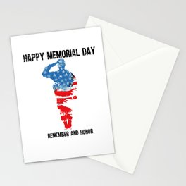 Silhouette of a soldier saluting with the text Memorial day remember and honor. Stationery Cards