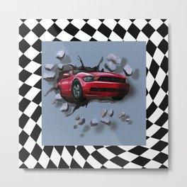 Speeding Red Car Breaking Through Wall Metal Print