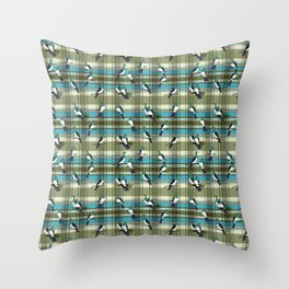Kereru on green and turquoise plaid Throw Pillow