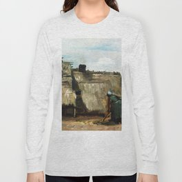 Vincent Van Gogh - A Peasant Woman Digging in Front of Her Cottage Long Sleeve T-shirt