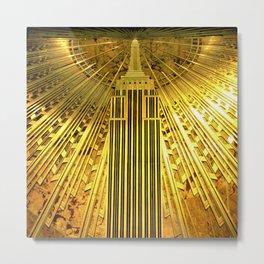 Empire State Building Lobby Art-Deco Sunburst Portrait Metal Print