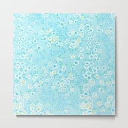 Forget Me Knot - Little Flowers on aqua Metal Print