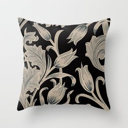 Silver Black Tulip Art Pattern Throw Pillow