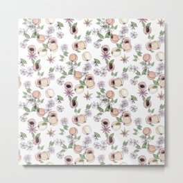 Watercolor pattern with apricots and flowers Metal Print