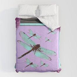 SPRING  BLUE DRAGONFLY FLIGHTS MODERN ART DESIGN Comforters