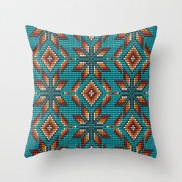 Modern colorful beaded boho aztec kilim pattern on teal Throw Pillow