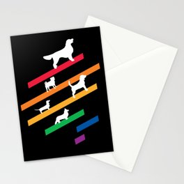 Cosmic Rainbow Dogs - Stripes and Silhouettes Stationery Cards
