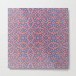 Living Coral And Pacific Blue Seamless Pattern Metal Print
