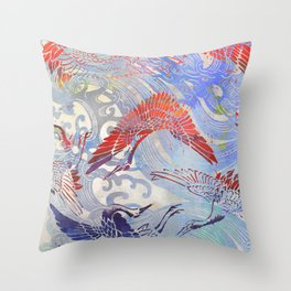 Waves and Cranes Chinoiserie Inspired Wall Art   Japanese Katagami Stencil Design in Red, Blue, Gray Throw Pillow