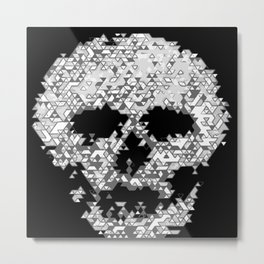 Geometric Light Grey Skull Composed Of Triangles Metal Print