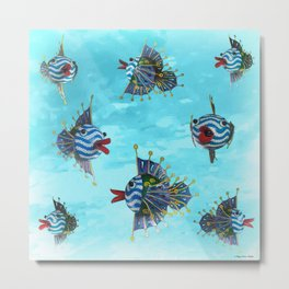 Silly Fishies Metal Print