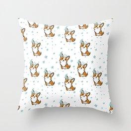 Corgi and stars. Children's seamless pattern Throw Pillow