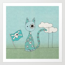 Sweet Blue Pirate Cat Art Print