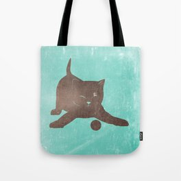 Happy kitten plays with a ball - minimalist illustration Tote Bag