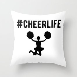Hashtag Cheerlife Funny Cheerleader Graphic Throw Pillow