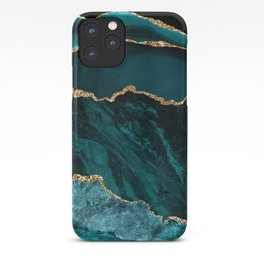 Teal Blue Emerald Marble Landscapes iPhone Case