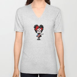 Day of the Dead Girl Playing American Flag Guitar Unisex V-Neck