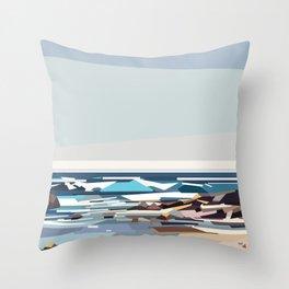 Geometric seashore of a beach in the US, seascape Throw Pillow