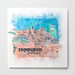 Edinburgh Scotland Illustrated Map with Main Roads Landmarks and Highlights Metal Print