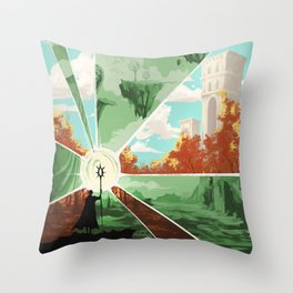 The world that wakes, the world that dreams Throw Pillow