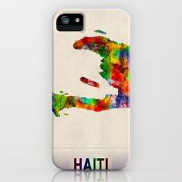 Haiti Map in Watercolor iPhone Case