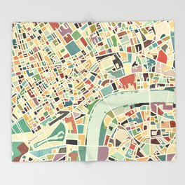 CITY OF LONDON MAP ART 01 Throw Blanket