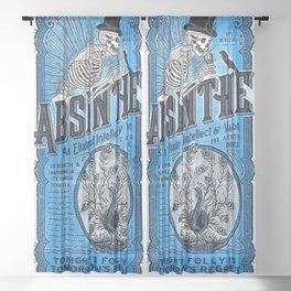 Vintage 1871 Absinthe Blue Liquor Skeleton Elixir Aperitif Cocktail Alcohol Advertisement Poster Sheer Curtain
