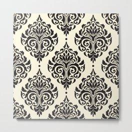 Black and White Damask Metal Print