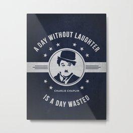 Charlie Chaplin - Navy Blue Metal Print