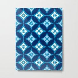 Shippo with Flower Motif, Indigo Blue and White Metal Print