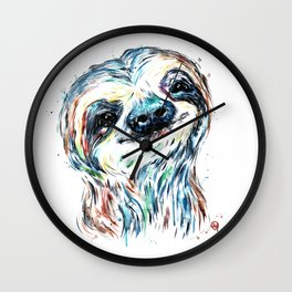 Smiling sloth baby colorful watercolor painting Wall Clock
