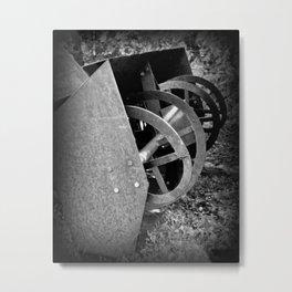 Old Farm Equipment BNW Metal Print