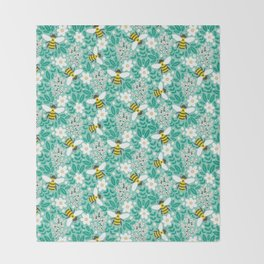 Blooms & Bees Throw Blanket