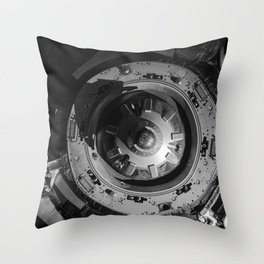 The Soyuz TMA-09M spacecraft departs from the International Space Station Zvezda Service Module and Throw Pillow