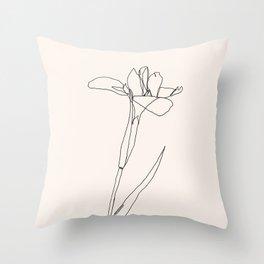 Pink Flower Petal One Line Art Throw Pillow