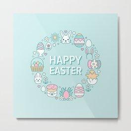 Happy Easter Wreath Aqua Bunny Eggs and Baskets - Pastel Teal Metal Print