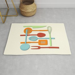 Kitchen Colored Utensil Silhouettes on Cream III Rug