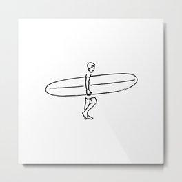 Long Board Surfer Sketch Metal Print